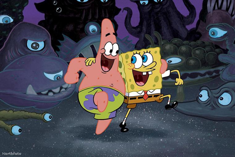 Patrik és Spongyabob, ahogy a rajzfilmben szerepelnek.
