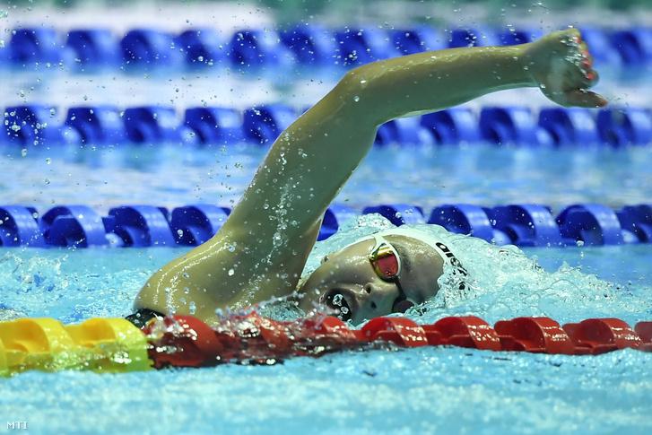 Késely Ajna a női 400 méteres gyorsúszás előfutamában a 18. vizes világbajnokságon a dél-koreai Kvangdzsuban 2019. július 21-én.
