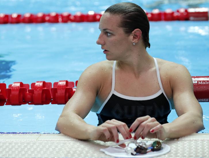 Hosszú Katinka a kvangdzsui vizes világbajnokság úszóversenyeinek edzése közben, 2019. július 20-án.