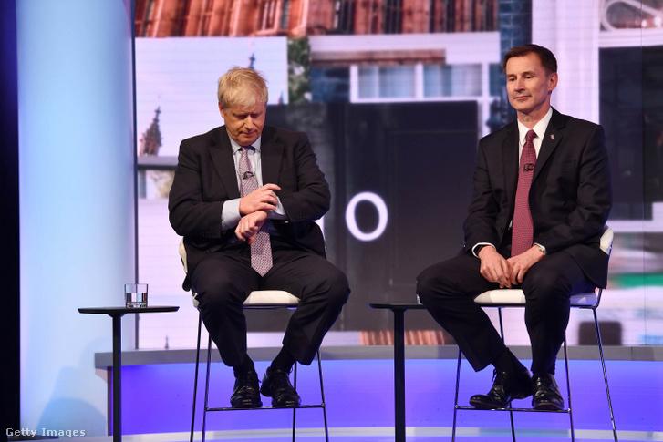 Johnson és Hunt az elnökjelölti tv-vitán 2019 június 18-án