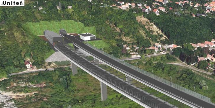 Az M0-s körgyűrű északi szakaszának útvonala Budakalásznál a tervezett völgyhídról alagútba hajt