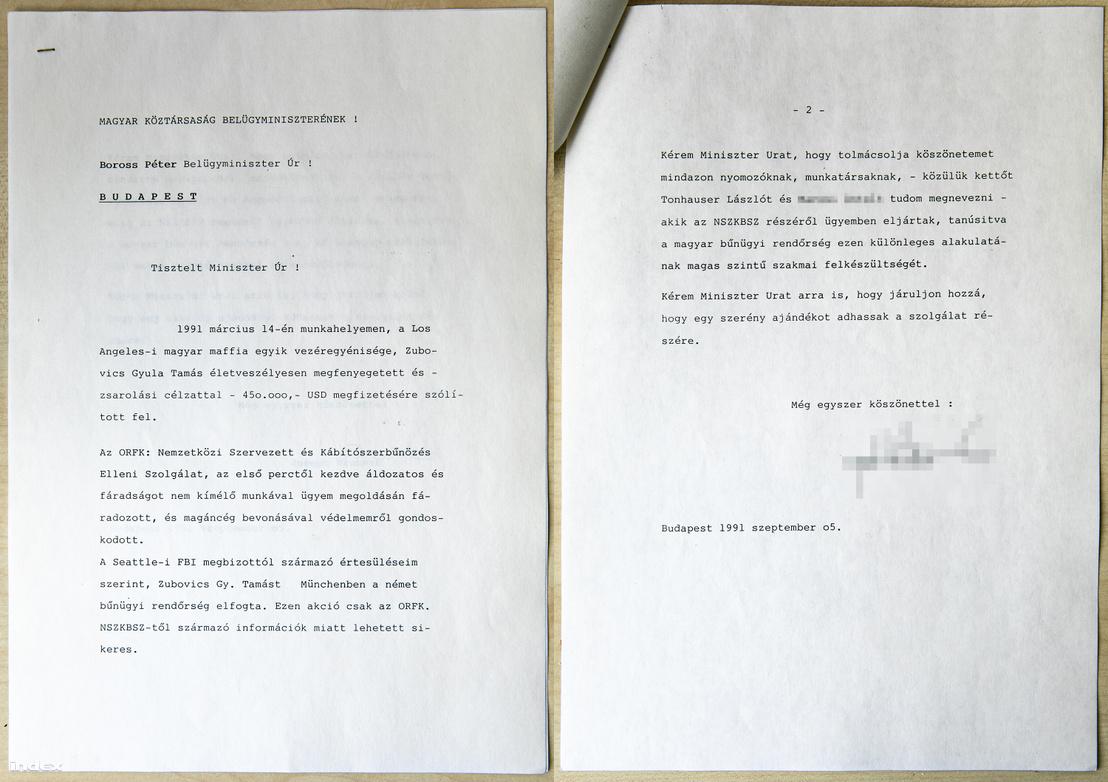 B. József Boross Péter belügyminiszternek írt köszönőlevele