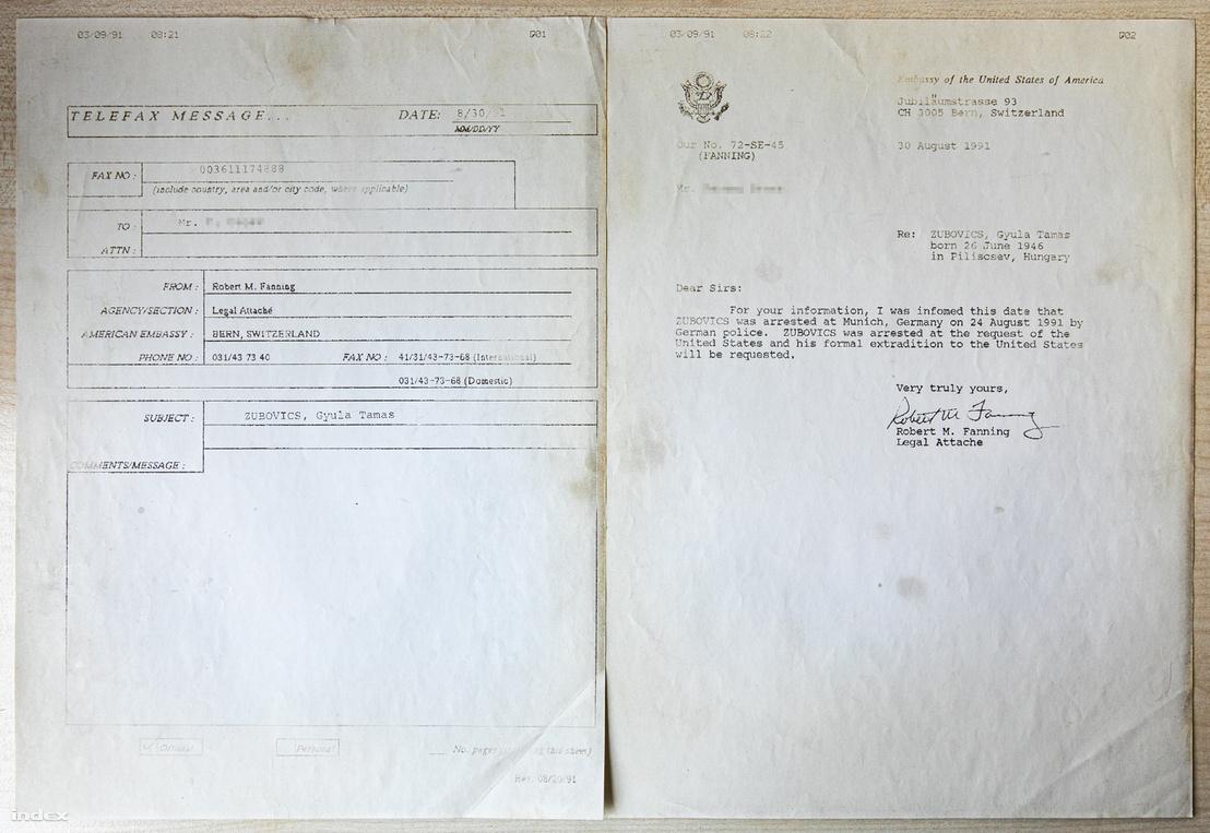 Az berni amerikai nagykövetségről küldött, Zubovics elfogásáról szóló fax