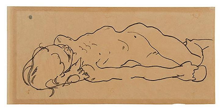 Egon Schiele: Fekvő lány, tanulmány 1918-ból.