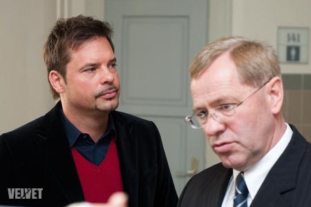 Kovács Lázár ügyvédjével, Ruttner Györggyel az április végi tárgyaláson
