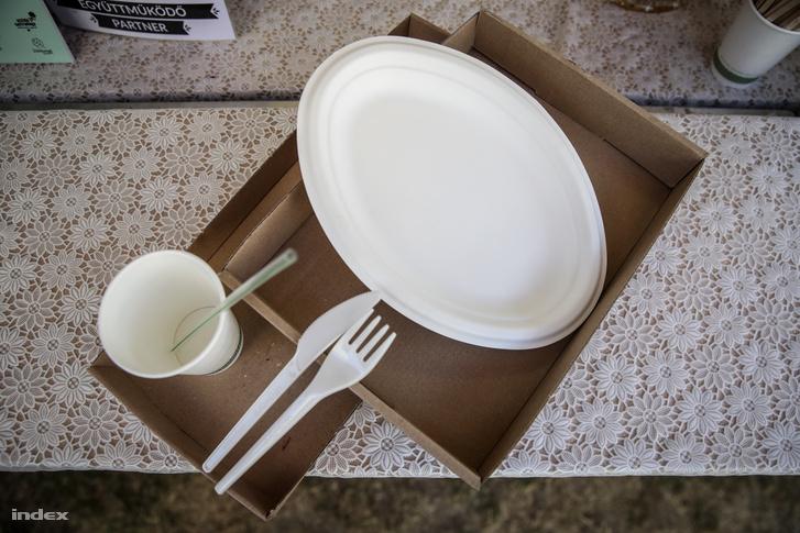 Komposztálható tányér és evőeszközök, illetve papírtálca a Művészetek Völgyében.