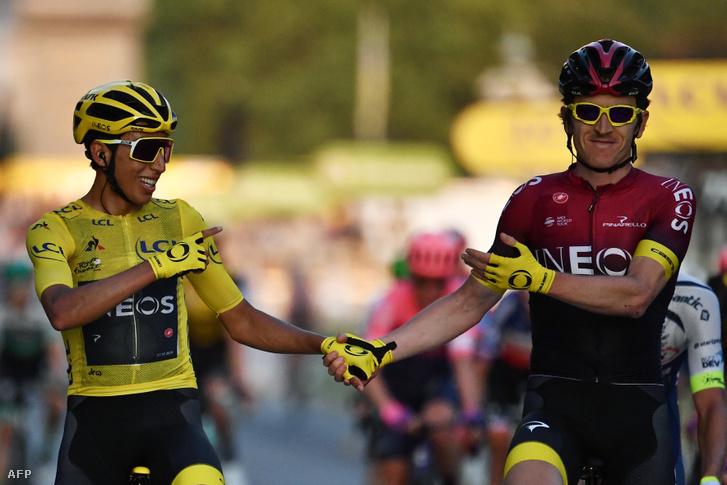 Egan Bernal a 2019-es Tour de France győztese, az előző kiírás nyertesével, Geraint Thomasszal