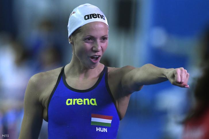 Kapás Boglárka a női 200 méteres pillangóúszás elődöntője után a 18. vizes világbajnokságon a dél-koreai Kvangdzsuban 2019. július 24-én