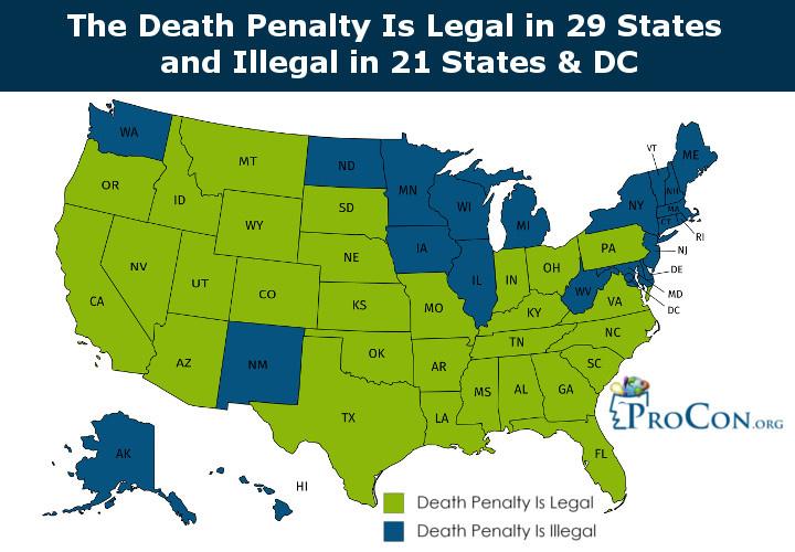Tagállamok eloszlása, ahol legális és illegális a halálos büntetés az Amerikai Egyesült Államokban