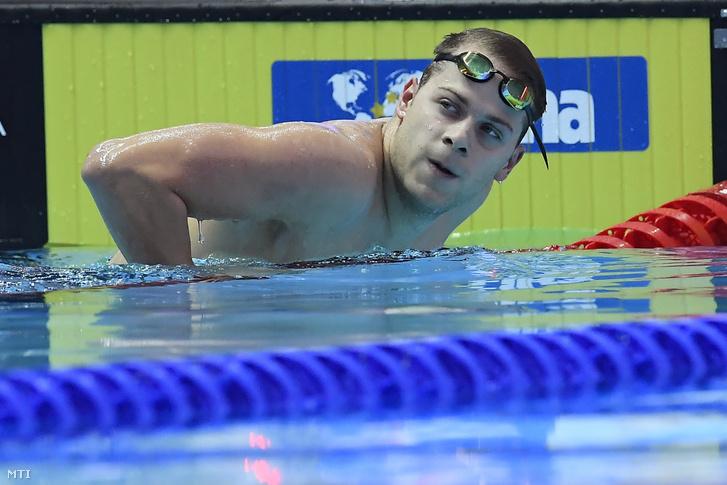 Kenderesi Tamás a férfi 200 méteres pillangóúszás szétúszása után a 18. vizes világbajnokságon a dél-koreai Kvangdzsuban 2019. július 24-én