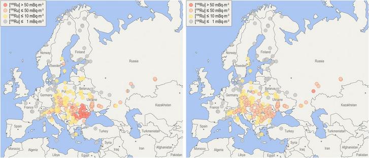 Az európai mérőállomásokon mért sugárzás mértéke. A bal ábra a hibás, a jobb a korrigált értéket mutatja. A legerősebb sugárzás helyét a piros szín jelöli.