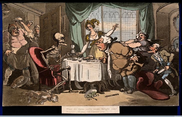 Thomas Rowlandson: Haláltánc – A falánk (1816)