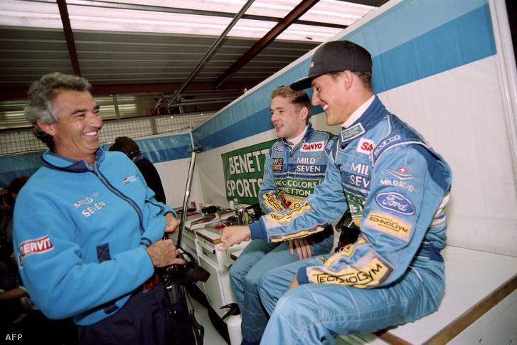 Flavio Briatore, Jos Verstappen és Michael Schumacher 1994-ben