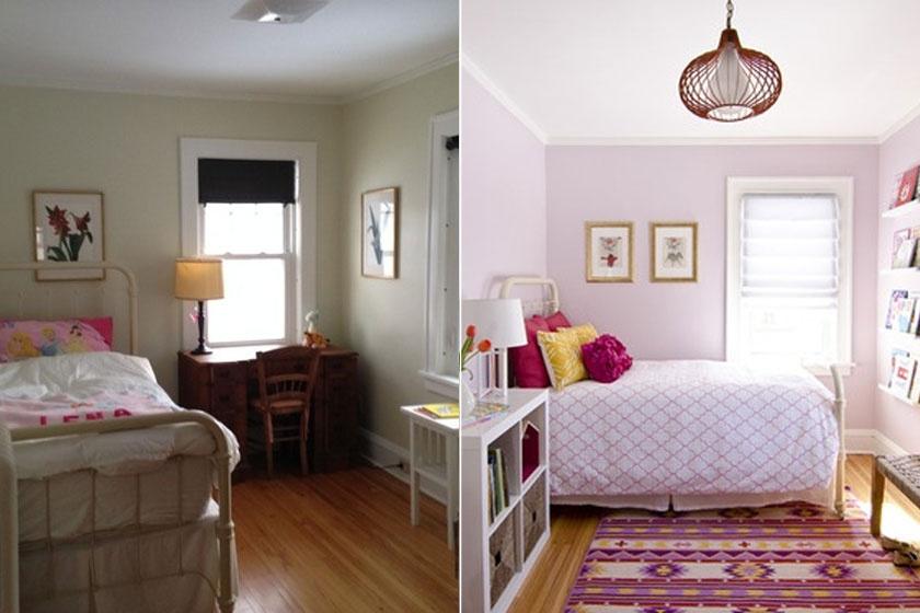 Egy fiatal lány hálószobája alakult át olcsón: csak a falat festették le, aminek a színével harmonizáló szőnyeg, ágytakaró és díszpárnák kerültek a szobába, illetve egy fehér szekrény és polc, az ágyat pedig átették.