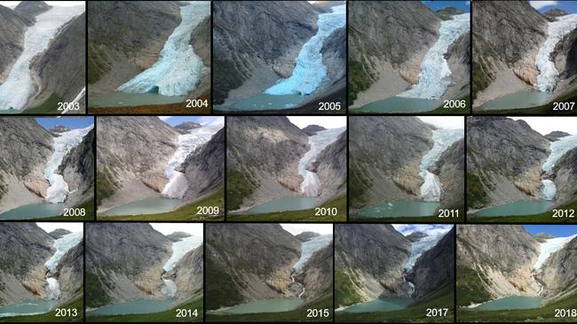A Briksdalsbreen gleccser visszahúzódása 16 év alatt