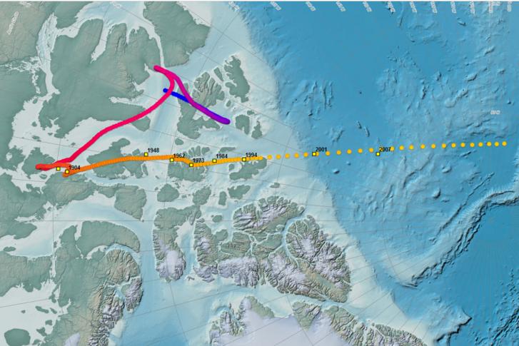 A mágneses északi sark mozgása az elmúlt évszázadokban (lila és piros), illetve 1900-tól napjainkig (sárga)