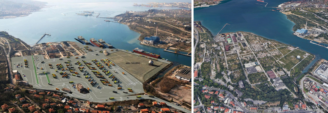 A trieszti magyar kikötő látványterve és a GoogleEarth 2017-es felvétele