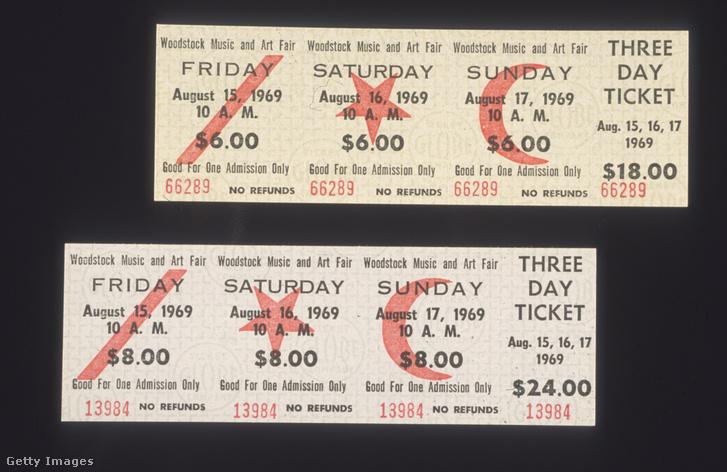 Háromnapos jegy az 1969-es Woodstock fesztiválra