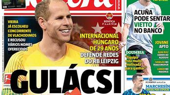 Átigazolási hírrel került Gulácsi Péter a legfőbb portugál sportlap címoldalára