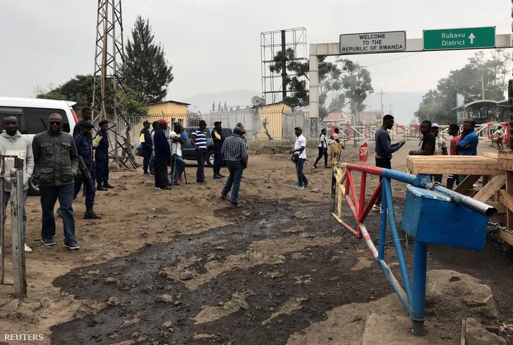 A lezárt ruandai határ a kongói Goma városában 2019. augusztus 1-én.