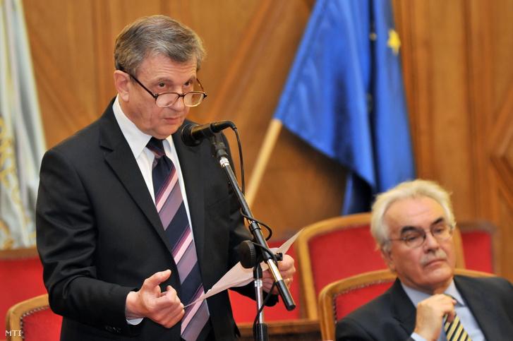 Maróth Miklós, a Magyar Tudományos Akadémia alelnöke beszél a 350 millió forintból megvalósuló könyvtárfejlesztési projektek ünnepélyes nyitórendezvényén a Debreceni Egyetem aulájában 2010. január 28-án