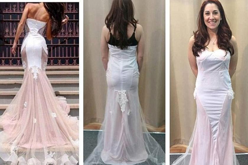Azt hitte, egy testhez simuló, alul bővülő, hosszú uszályos, csodaszép menyasszonyi ruhát rendelt. A kapott áru azonban az eredetihez maximum annyiban hasonlít, hogy van benne fehér és egy kis púderrózsaszín.