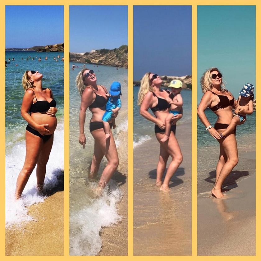 Liptai Claudia 2016 nyarán várandósan, az egy-, a két- és a hároméves Marcival.