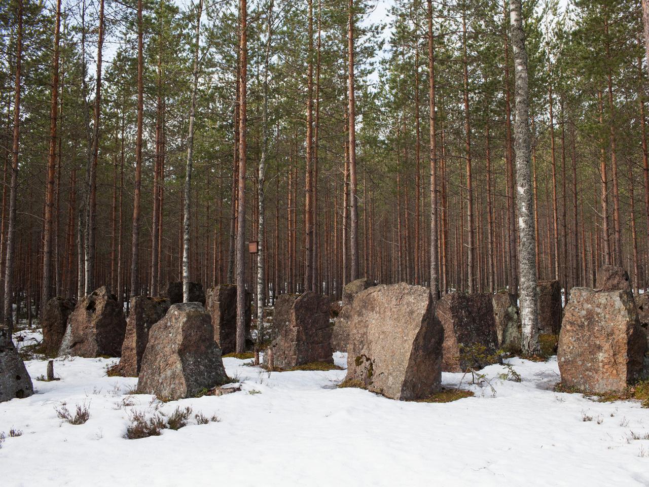 A Salpa-vonal Finnországban, 2017-ben. A fák közé is beékelődő óriási, 3-4 tonnás kőtömböket 1940-41-ben, a II. világháború alatt állította fel egy 225 km hosszan elnyújtott védelmi vonalnak Finnország. A 350 ezer kőből álló Salpa-vonal célja az volt, hogy megvédje a határt a szovjet harckocsik esetleges inváziójától. A létrehozásához 70 ezer katona munkájára volt szükség.