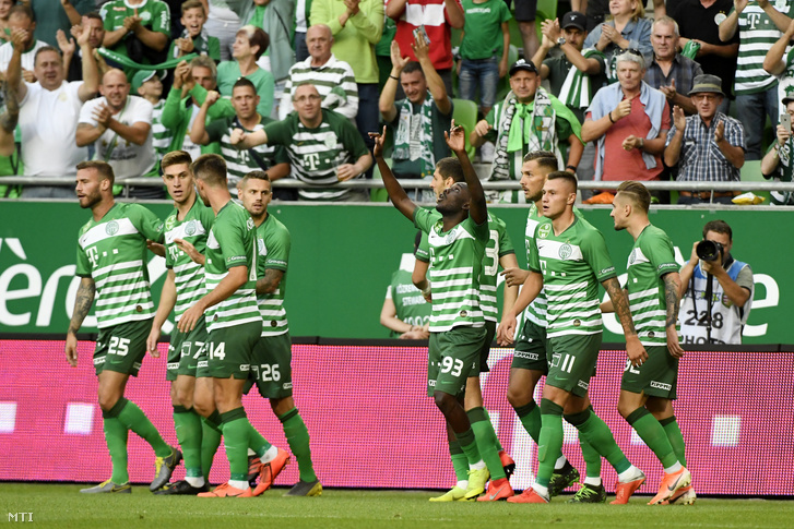 Tokmac Nguen (93) a Ferencváros játékosa ünnepli gólját a labdarúgó Bajnokok Ligája selejtezőjének 1. fordulójában a bolgár Ludogorec ellen játszott mérkőzésen Budapesten a Groupama Arénában 2019. július 10-én.