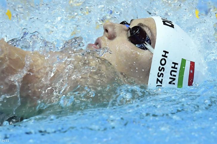 Hosszú Katinka a női 400 méteres vegyesúszás döntőjében a 18. vizes világbajnokságon a dél-koreai Kvangdzsuban 2019. július 28-án.