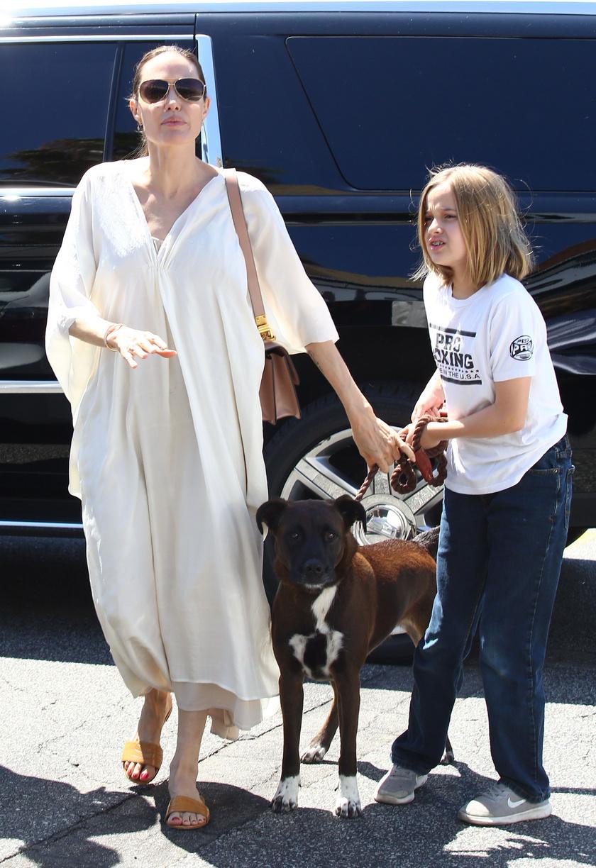 Angelina Jolie büszkén figyelte, ahogy Vivienne vezeti a szófogadó kutyust.