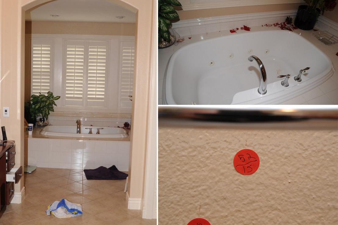 Chadwick emeleti fürdőszobája, összetört üveggel és vércsepp nyomokkal a falon (jobb alsó kép)
