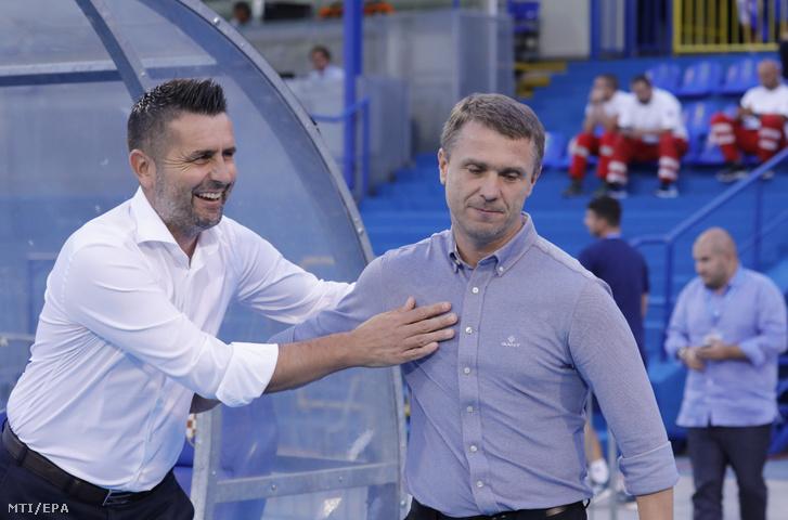 Szerhij Rebrov, a Ferencváros (j) és Nenad Bjelica, a Zágráb vezetőedzője