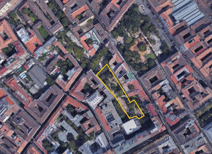 Az új park hozzávetőleges határa. Jobbra felfelé a Klauzál tér látszik, balra felfelé pedig az, hogy akár folytatni is lehetne az irányt, ha kicsit máshogy építik be a területet