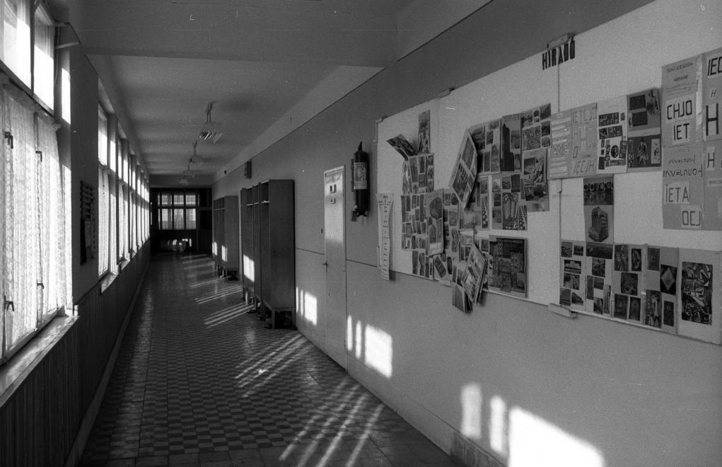 Szinte ma is érezzük a folyosók hűvösségét, halljuk a kőpadlón kopogó cipőket, és magunk előtt látjuk a gondosan elkészített faliújságot. (1983, Csanádapáca, Szent Gellért út, Általános Iskola)