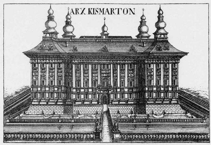 A kismartoni várból kialakított barokk kastély az 1600-as évek végén. Az egykori vizesárok még megmaradt a felvonóhíddal