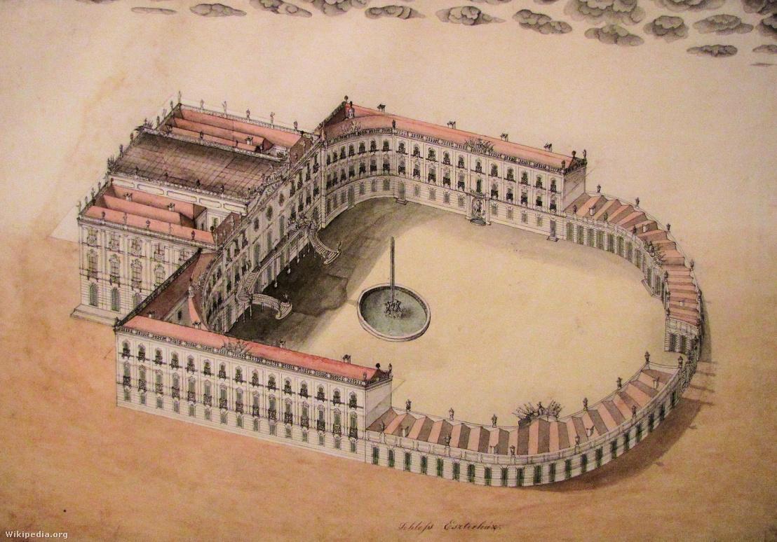A fertődi rokokó kastély terve, valószínűleg Nicolaus Jacoby munkája, 1774. Ez sokkal inkább vázlat, mintsem látványterv. Szinte teljes mértékben megvalósult, és ma is így néz ki - leszámítva az udvart díszítő obeliszket.