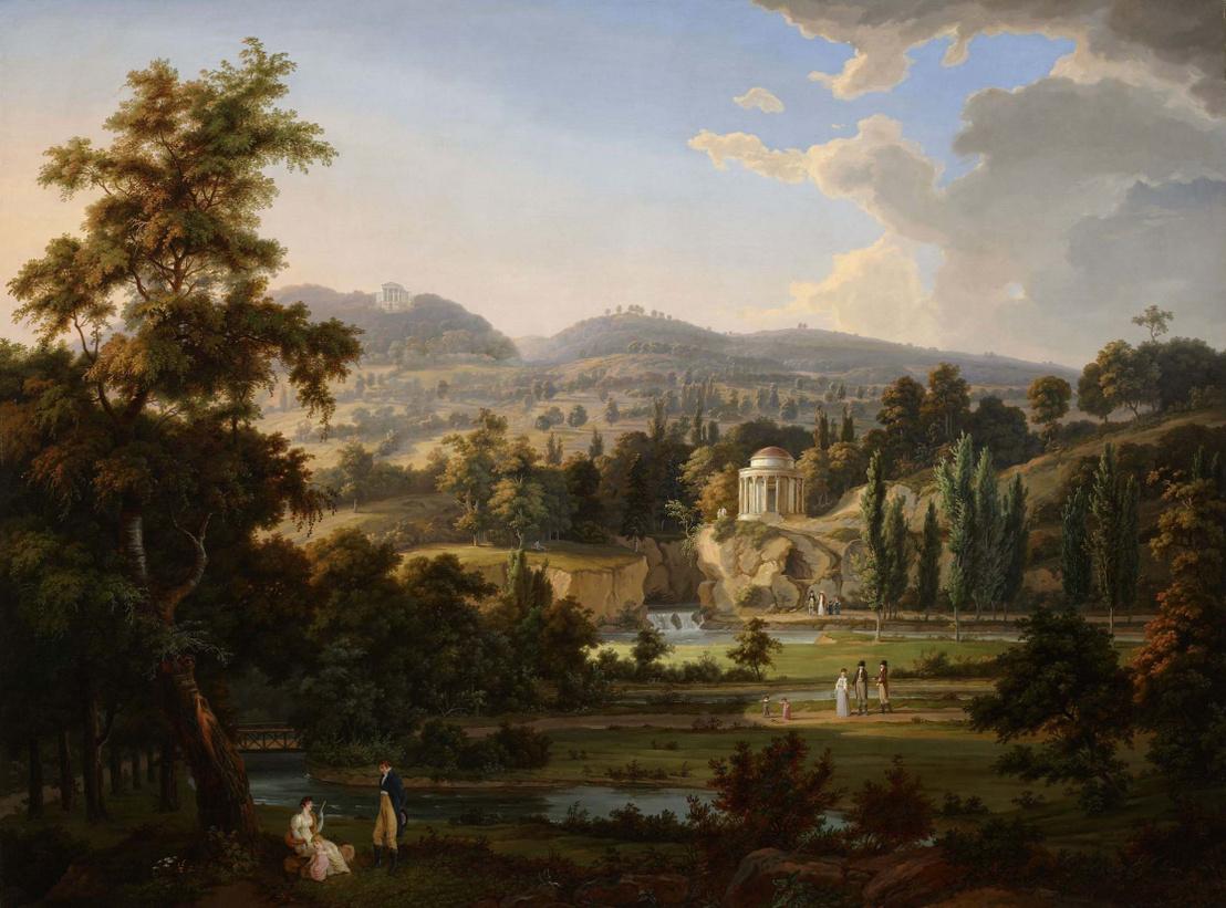 A Leopoldina-templom terve a kismartoni Esterházy-kastély kertjében. Albert Christoph Dies festménye.