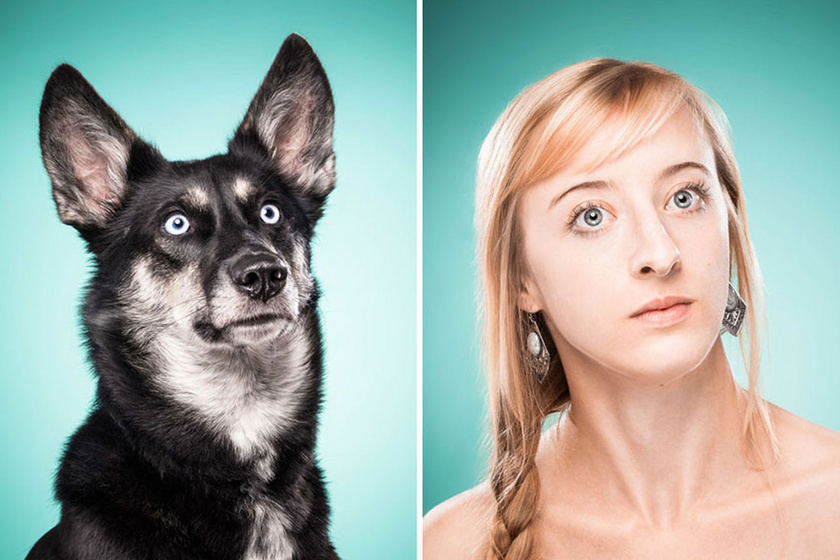 Ines Opifanti kutya-gazdi hasonlóságot bemutató képsorozatának egy fotópárosa.
