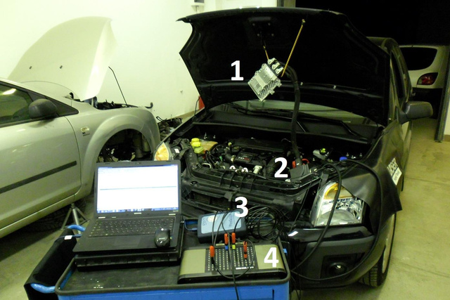 1: motorvezérlő elektronika; 2: kábelkorbácshoz csatlakoztatott Y kábel; 3: oszcilloszkóp interfész, 4: kézivezérlő-doboz