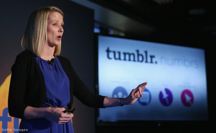 2013. május 20.: Marissa Mayer sajtótájékoztatót tart a Tumblr felvásárlása után.
