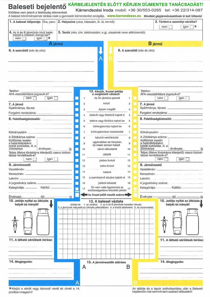 Egyértelmű és pár perc alatt kitölthető a baleseti bejelentő lap. Fontos megcsinálni, mert a baleset után ez lesz az első dokumentum amit a biztosító kérni fog.
