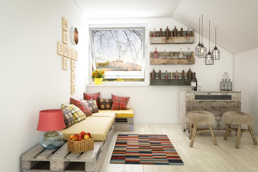 Az ülőalkalmatosságokat, különösen a kanapét, ha egy mód van rá, célszerű az egyik sarokba rakni, így a körülötte levő hely felszabadul.