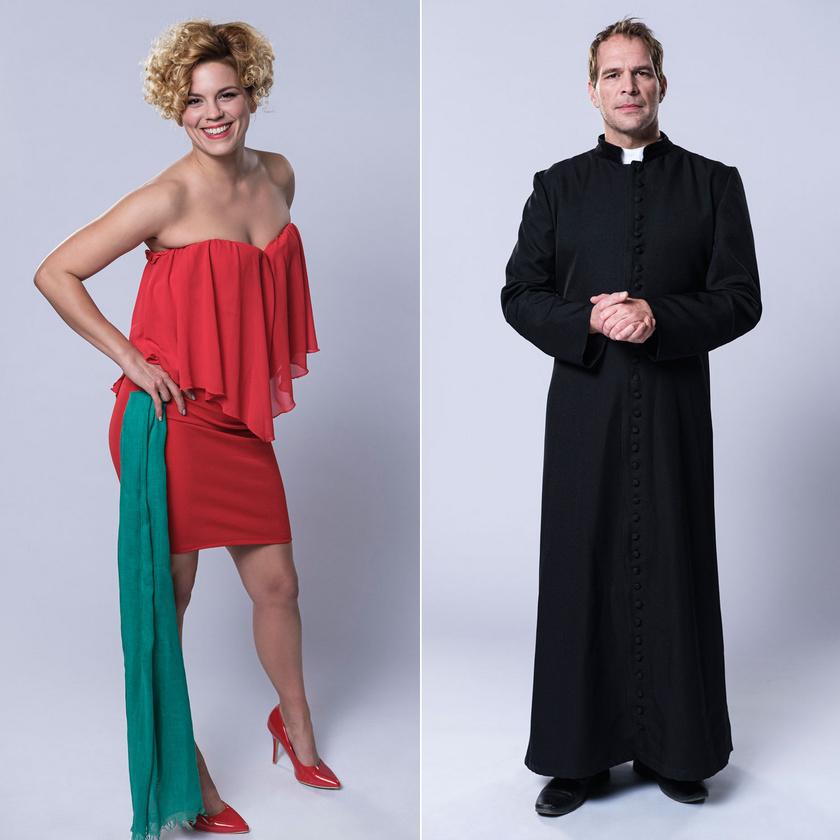 Teca, a kocsmárosnő (Bata Éva) és ifj. Rádi János, a pap (Schmied Zoltán)