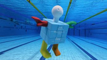 Bemutatkozik Cubeman, a budapesti junior úszó-vb kabalája