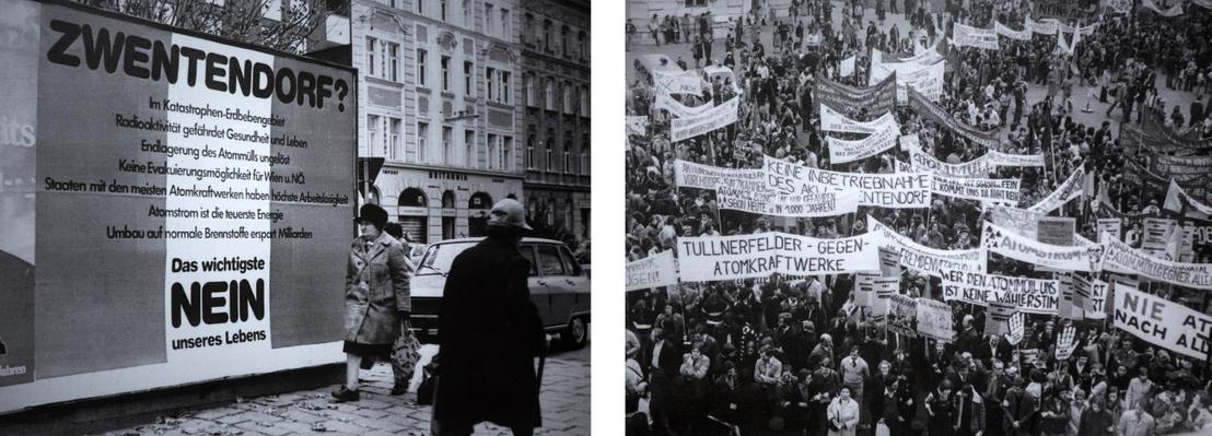 Erőműt ellenző óriásplakát és tömegtüntetés
