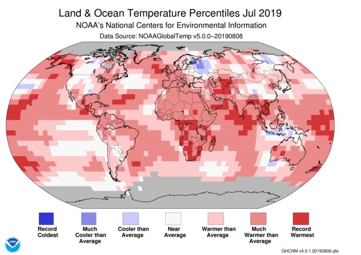 2019. júliusi csúcshőmérsékletek a Földön