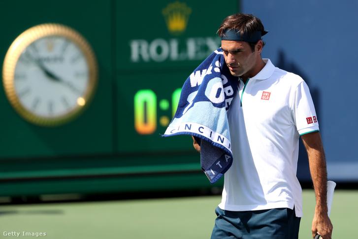 Roger Federer a cincinnati tenisztornán, az Andrej Rubljov elleni meccsén