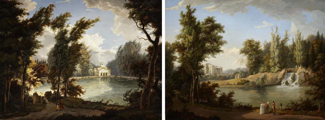 A Gépház-tó, a vízház, illetve a park vízesésének látványterve a kismartoni Esterházy-kastély kertjében. A jobb oldali kép hátterében a (soha el nem készült) bővített klasszicista kastély látszik. Albert Christoph Dies festménye (1807).