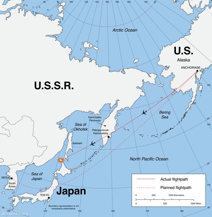 Korean Airlines 007 járatának útvonala
